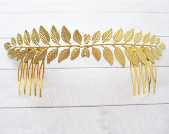 Golden leaves tiara Leaf Wedding headpiece Gold laurel Bridal Crown Leaf Hair comb Accessories Bride Headband Laurel Wreath Gift for her