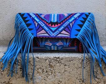 Tribal Fringe Crossbody bag/Clutch - light blue