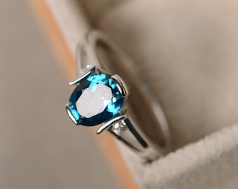 London blue topaz ring, topaz gemstone, sterling silver finished with rhodium, engagement ring