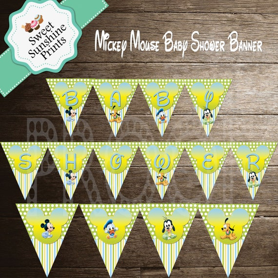 Mickey Mouse DIY Printable Baby Shower Banner Boy