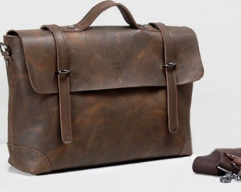 Leather Briefcase Messenger Bag Laptop Shoulder Bag