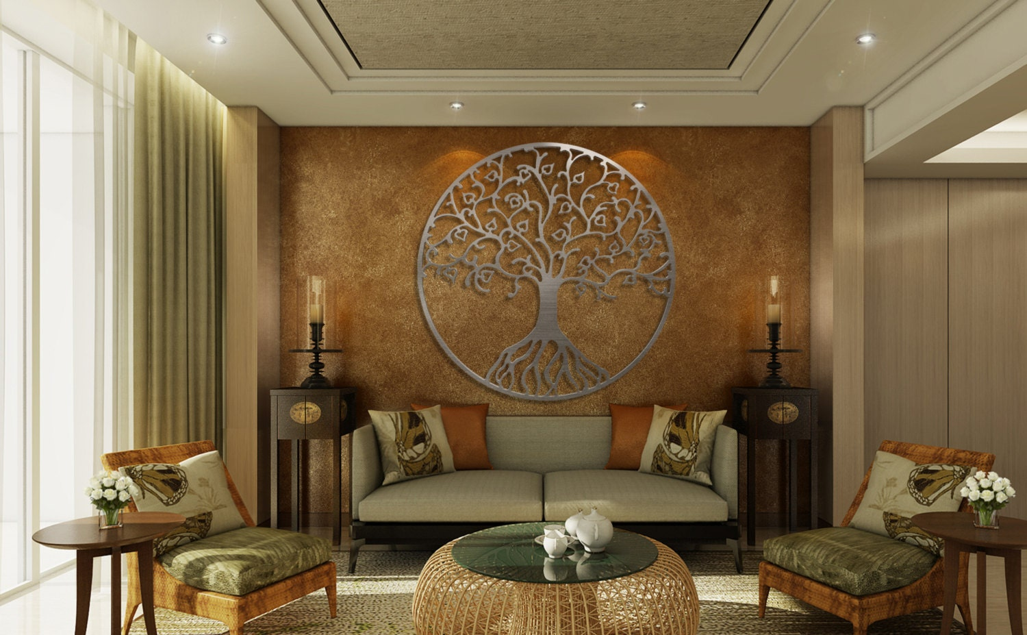 tree of life metal wall art metal tree wall art circle wall art - Metal Tree Wall Decor