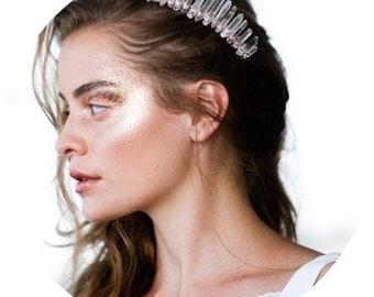 The Nayiri -Long crystal quartz hair comb bridal for up-do