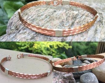 Copper Bracelet Silver Bracelet Wire Wrapped Bracelet Simple Bangle Bracelet