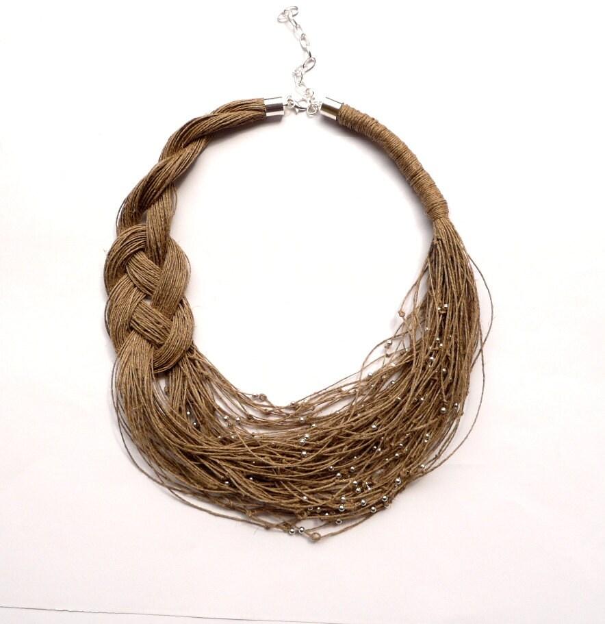 Linen Jewellery: Chunky Bib Necklace Linen Necklace Boho Jewelry Eco Jewelry