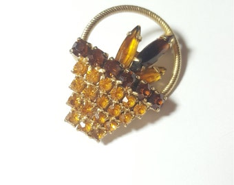 Vintage Rhinestone Root beer and Yellow Basket Pin Brooch
