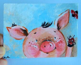 aceo original acrylic painting mini art Pig and ladybugs