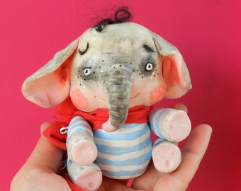 Sale!! ooak doll elephant polymer clay elephant articulated doll elephant figurine art doll clay elephant ooak cute doll 4 item set