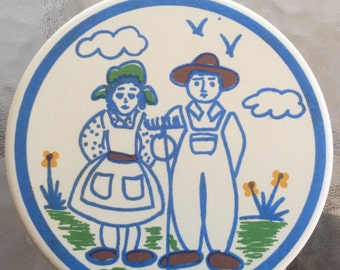 Trivet, large coaster, wall hanging, ceramic trivot, farmers, country kitchen, gardener gift, chef gift, wedding gift