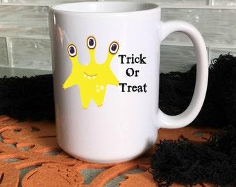 Halloween Mug for Kids, Halloween Decor, Trick or Treat Halloween Mug, 15 oz,  11 oz