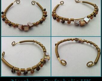 Abalone Shell Beads | Semi Precious Gemstones | Wire Wrapped | HANDMADE Bracelet