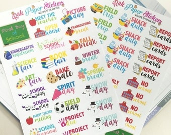 Back to school! -set of 52 stickers- Comprehensive kit for important back to school events and dates!