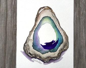Oyster Painting, Original Oyster Watercolor, Coastal Decor, Oyster Artwork, New Orleans Louisiana Art, Beach Wall Art, Ocean Art, Pearl