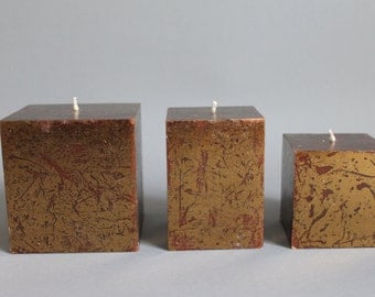 Copper & Brown square pillar candle hand made dyed in 3 sizes