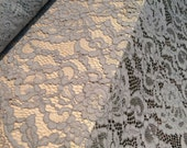 Gray lace fabric, Wedding lace, grey lingerie lace, gray alencon lace fabric