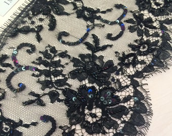 Black beaded  lace, Black chantilly  Lace Trimming, French lace trim, Made by Sophie Hallette  MM00037