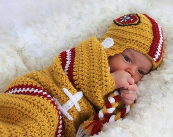 Baby FOOTBALL Cocoon, Newborn Football swaddle, San Francisco 49ERS Inspired (Handmade by me and not affiliated with the NFL)