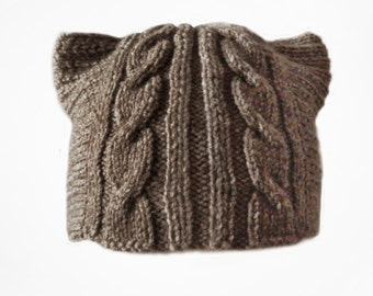 Knitted hat with ears for women, winter hat, funny cap