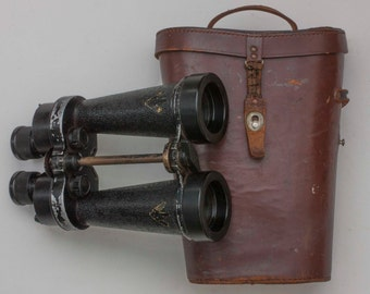 WWII Royal Navy CF41 Binoculars in Leather Case, Made by Barr & Stroud. Military Field Glasses Marked 'Gunnery Officer'.