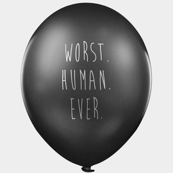 Rude balloons - 8 designs - The Ambassador of Hate - pack of 24 black pessimistic and depressing party balloons with abusive messages.