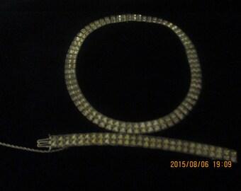 Vintage rhinestone choker with matching bracelet