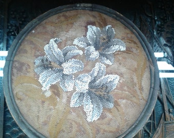 1800s antique footstool ~ embroidered White Lilies.