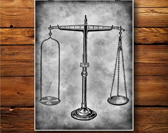 Scales Print, Science Decor, Laboratory Art, Old Poster  BW0273