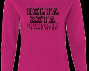 On Sale Delta Zeta Sorority w/ Uni long sleeve t-shirt - Delta Zeta tee shirts - Delta Zeta shirts - DZ Clothing