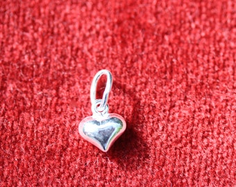 Sterling Silver Small Puffy Heart Charm 8x7mm - One or Five per pack