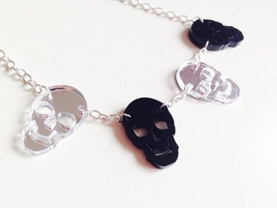 Skull   Halloween   Mirrored   Silver   Laser Cut   Acrylic   Necklace