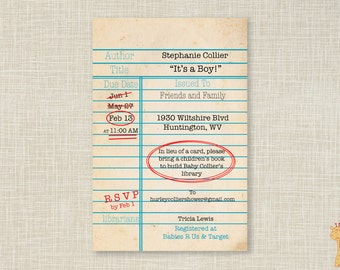 Customization to your Library Card Invitations, Build A Library Invitation,  Build A Library Baby Shower Invitations