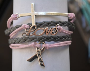 Cancer Awareness Jewelry- Pink Ribbon Bracelet- Breast Cancer- Cross Bracelet, Faith- Perfect Awareness Gift!!!
