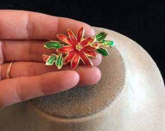 Vintage Red & Green Enameled Christmas Floral Pin