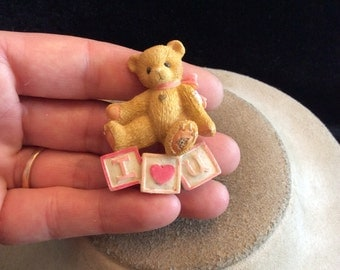 Vintage Valentines Day I Love You Teddy Bear Pin