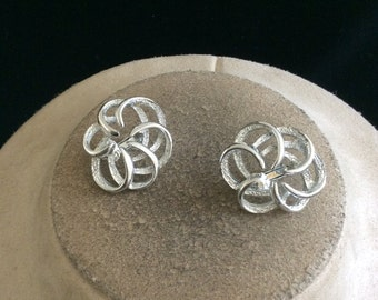 Vintage Signed Sarah Coventry Swirl Clip On Earrings