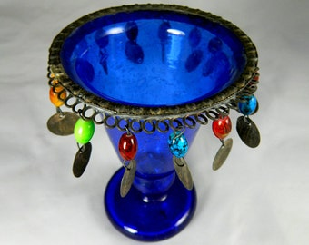 Egyptian mouth blown and hand cut GLASS CANDLE HOLDER
