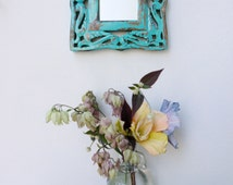 Turquoise blue wooden wall mirror, recycled,repurposed, carved wooden frame, shabby chic, distressed, small wall mirror.HM3-75