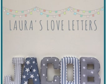 Fabric letters, name, A-Z, personalised, initial, name, alphabet, baby room, nursery, baby gift, baby shower, wall art