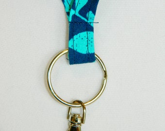 Blue with Teal Floral Fabric Lanyard