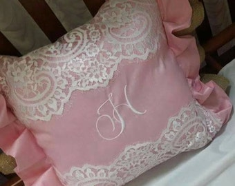 Pink burlap and lace pillow with initial