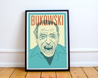 Stampa di Bukowski! Charles Bukowski Poster, ufficio postale, Ham On Rye, realismo, Los angeles, bere
