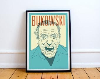 Bukowski Print! Charles Bukowski Poster, Post Office, Ham On Rye, realism, Los angeles, drink