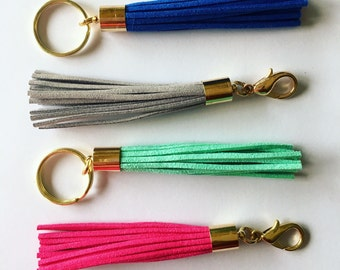 Colorful vegan suede leather 80mm tassel keychain or bag charm with or without initial letter
