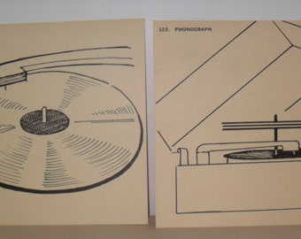 Dog Days of Summer Sale!!! Now 20% Off!!! Set of Two Vintage Flash Cards - Record and Turntable