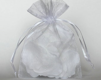 Organza Gift Bags, White Sheer Favor Bags with Drawstring for Packaging, pack of 50