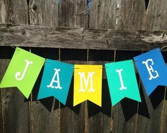 Name banner. Boy name banner. Baby shower name banner. Birthday name banner.