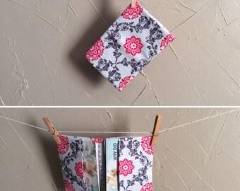 JW Invitation Holder - Gray and Pink Floral Scroll Design