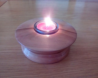 Tea light holder hand made in Apple wood