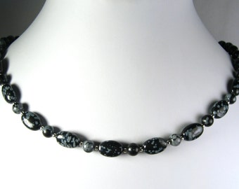 Snowflake Obsidian Necklace Silver