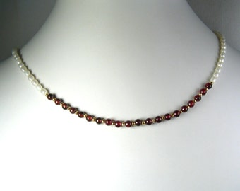 Freshwater Pearl and Garnet Necklace Gold 18""